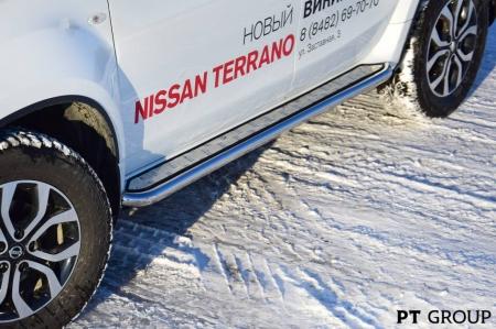 """Защита порогов с алюм. площадкой """"Эстонец"""" d51мм Nissan Terrano (нерж)"""